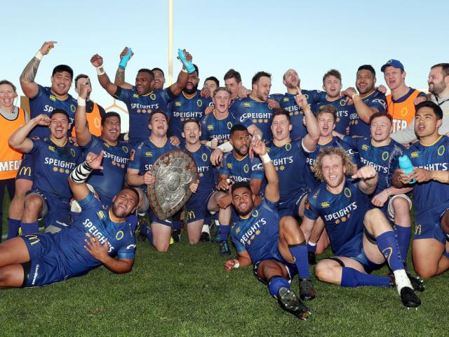 Otago celebrate with the Ranfurly Shield after winning the round nine Mitre 10 Cup match between...