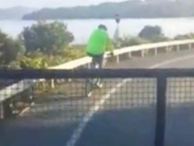 A still from a video showing two Clearwater Civil contractors threatening to run down a cyclist in Portobello Rd, Dunedin. Photo: Supplied