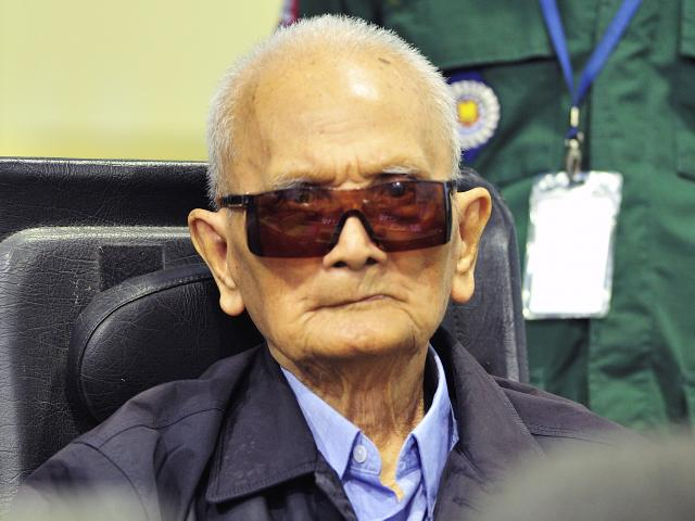 Former Khmer Rouge leader ''Brother Number Two'' Nuon Chea awaits the verdict inside the...