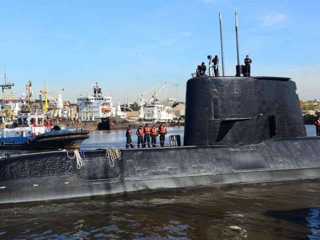 The Argentine military submarine ARA San Juan and crew as seen leaving the port of Buenos Aires...