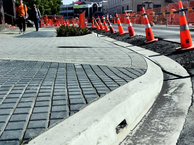 Work continues on the Dunedin bus hub in Great King St yesterday. PHOTO: PETER MCINTOSH