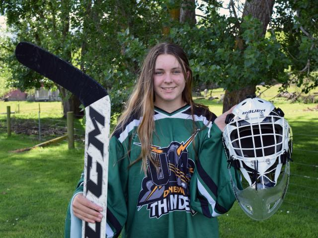 Breane Byck (13), of Ocean View, is a goalie for the Dunedin Thunder and Southern Knights ice...