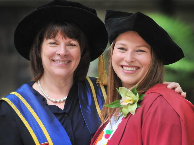 University of Otago vice chancellor Harlene Hayne with the latest doctor of psychology in the...