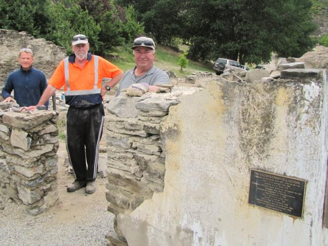 Heritage stonemasons (from left) Paul Myall and Murray Reeves, both of Clyde, and Keith Hinds, of...