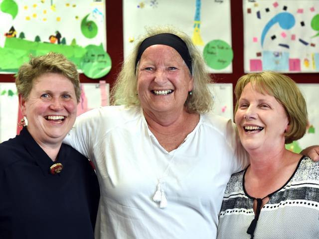 Retiring Tainui School teachers (from left) Ruth Harley, Kaye Ballantyne and Jenny Tavendale will...