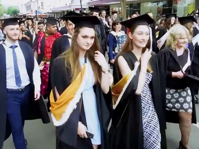 Graduands walk in the parade before two ceremonies at the Dunedin Town Hall on Dec 12 2018. Screenshot: Craig Baxter