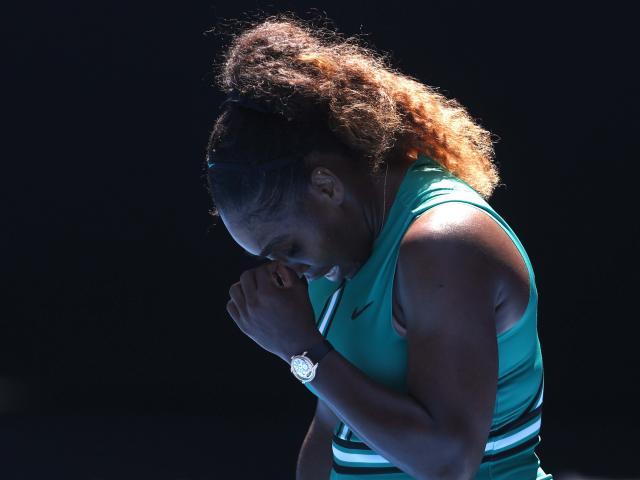 Serena Williams of the U.S. reacts during match against Czech Republic's Karolina Pliskova. Photo...