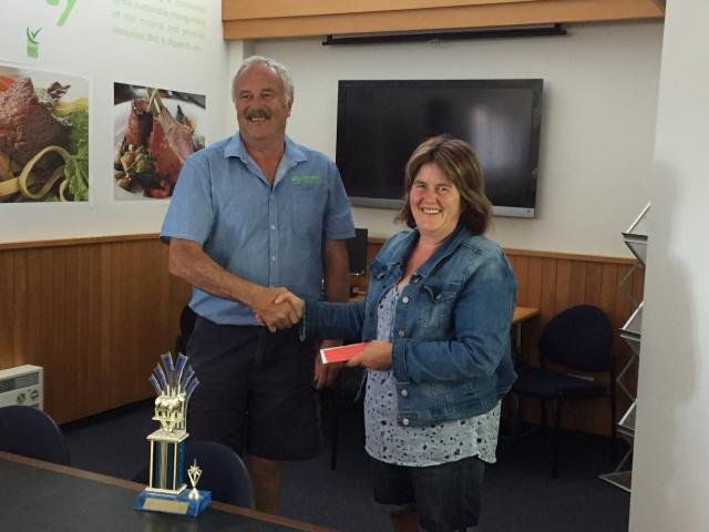 Joy Dodd, who with husband Nathan took the top prize in the Gore A&P Show carcass competition...
