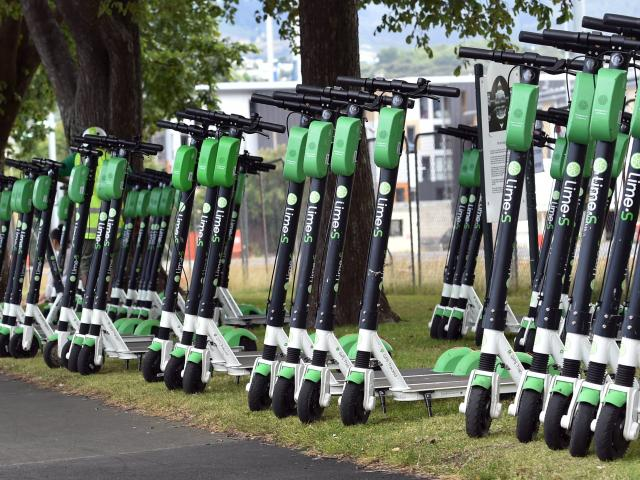 Lime scooters at Logan Park. PHOTO: PETER MCINTOSH