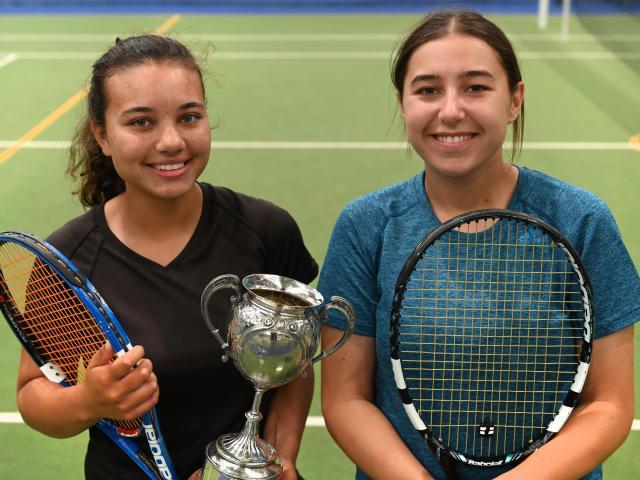 Otago Open women's singles winner Ayesha Horley (left) and runner-up Rileigh Field, both of...