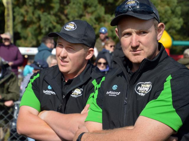FMG Young Farmer of the Year Otago-Southland regional finalist Zac Thomas (left) and winner Matt...
