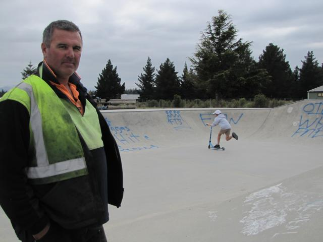 Alexandra BMX Club president Tony Nelson checks out graffiti at the Alexandra skatepark. Photo:...