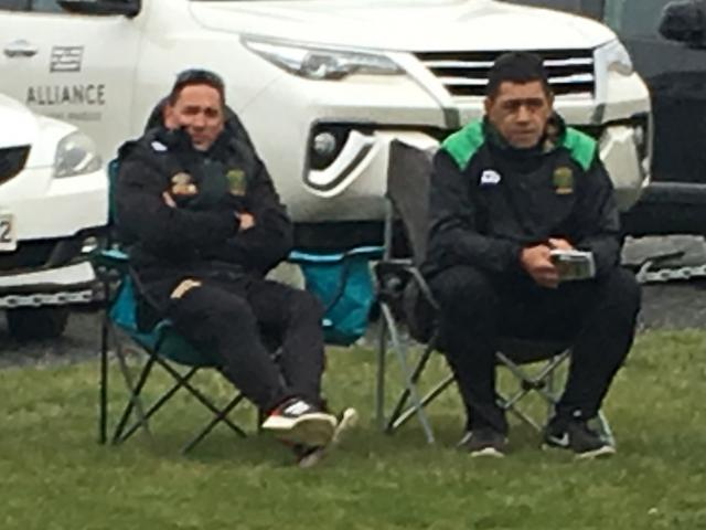 So this is how GI coaches Moeahu and ``V'' watch games now, swanning around in deck chairs at...