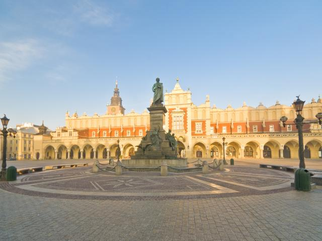 The statue of Polish Romantic poet Adam Mickiewicz stands in the Main Market Square in the Old...