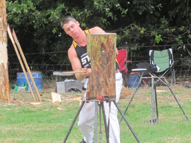 Waiuku Axemen's Club member Jesse Whitehead, of Taranaki, competes in the standing block heats....