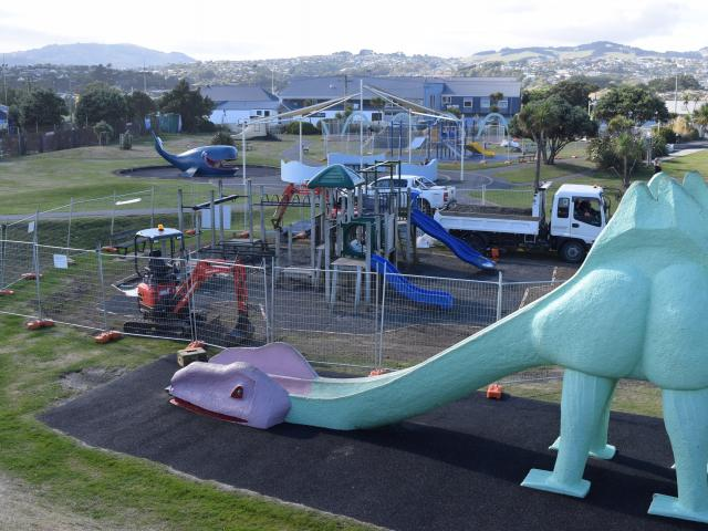 Dunedin City Council contractors Numat progress a playground upgrade at Marlow Park in St Kilda...