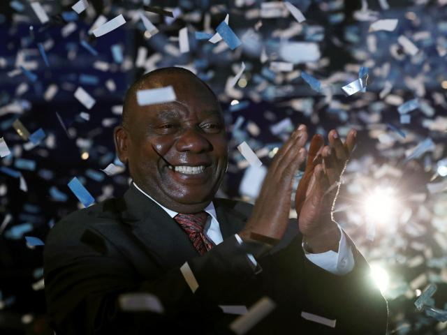 South African President Cyril Ramaphosa celebrates victory for his African National Congress (ANC...