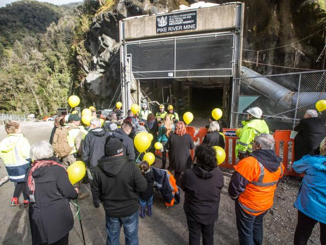 Balloons representing the 29 men who died in the Pike River mine explosion are released outside...