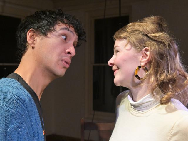 Trubie-Dylan Smith and Abby Howells rehearse a scene from The Bald Soprano. Photos: Linda Robertson