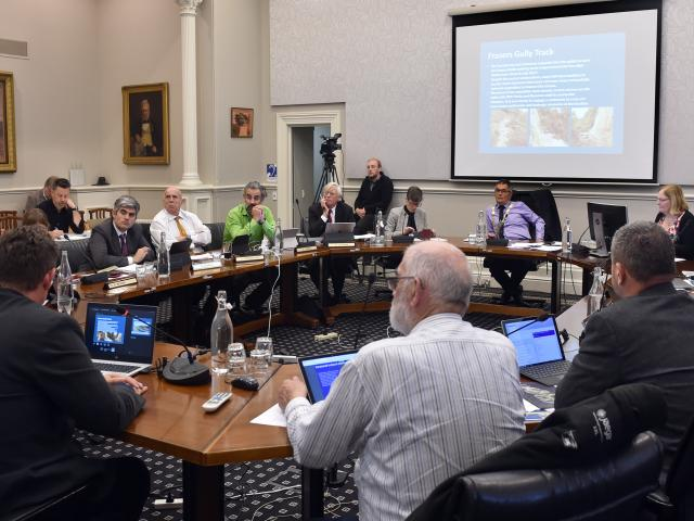 Dunedin city councillors gather for the start of the 2019-20 annual plan hearing yesterday. PHOTO...