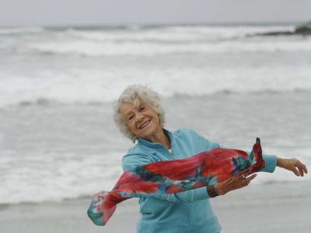 Shona Dunlop MacTavish dances at St Clair Beach in 2009. Photo: Linda Robertson