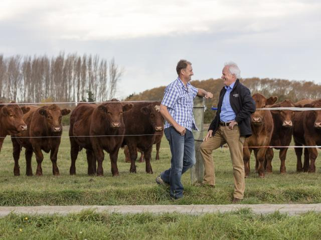 Darryl Brown (left), who manages a 485ha farm at Eyreton chats with Andrew Arps, zone manager...