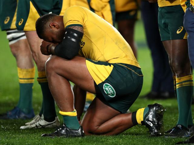 Samu Kerevi reacts after the Wallabies' loss to the All Blacks at the weekend. Photo: Getty Images