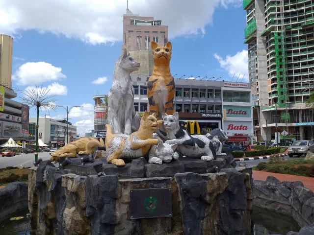 Cat statues are all over town as Kuching means ''cat'' in Malay.