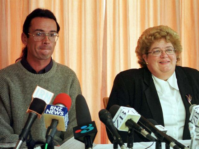 Peter Ellis joins lawyer Judith Ablett-Kerr after being released from prison in 2000. PHOTO:...