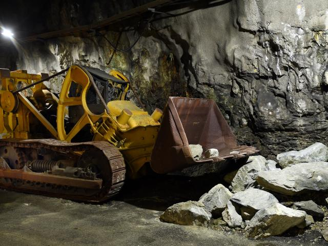 Called a mucker, this metal workhorse was used to clear shattered rock in the tunnels after...