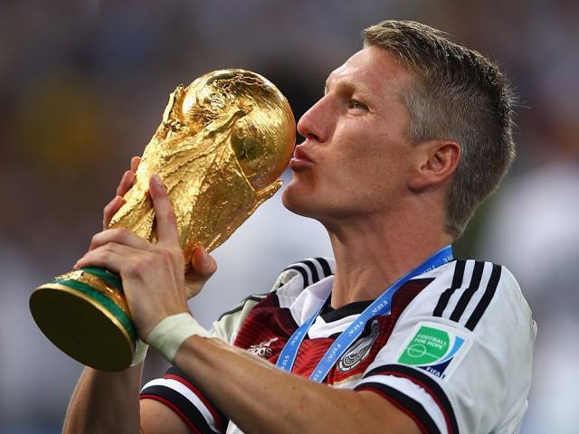 Bastian Schweinsteiger celebrates winning the World Cup in 2014. Photo: Getty Images