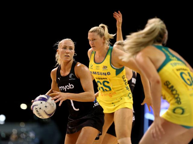 Silver Ferns centre Laura Langman looks for a pass under pressure. Photo: Getty Images