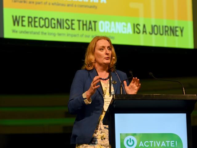 Oranga Tamariki chief executive Grainne Moss speaks in Dunedin yesterday. PHOTO: LINDA ROBERTSON