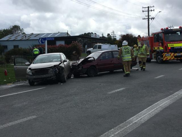 Emergency services at the crash scene this afternoon. Photo: Daniel Birchfield