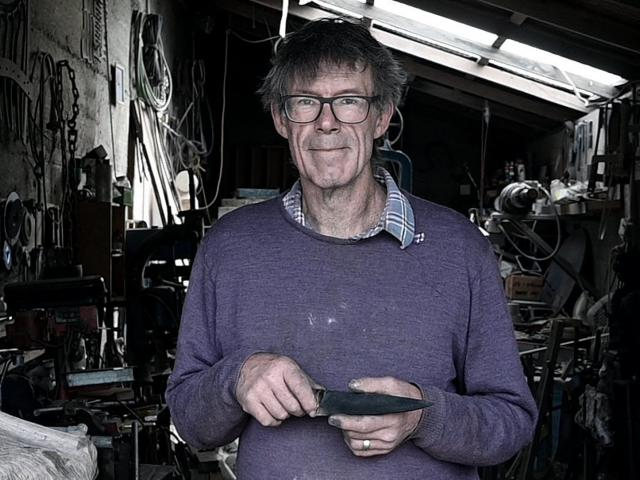 Peter Lorimer's Omakau smithy is where he creates his steel and iron works. Photo: Craig Baxter