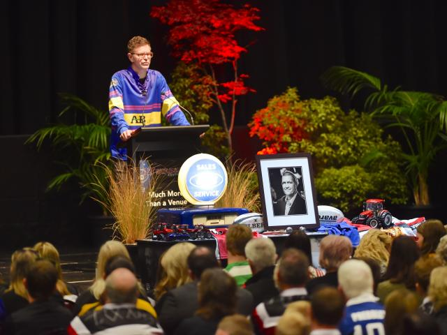 Shaun Vining delivers a moving and humorous eulogy to his brother at Blair Vining's memorial...