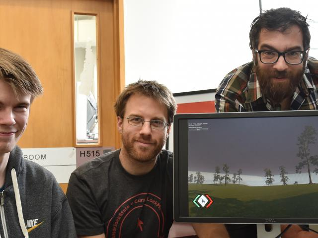 Polytechnic student Mitchell Briggs (left), lecturer Adon Moskal and technology specialist Hugh...