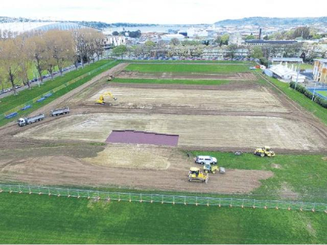 Construction of the turf began at the beginning of this year.