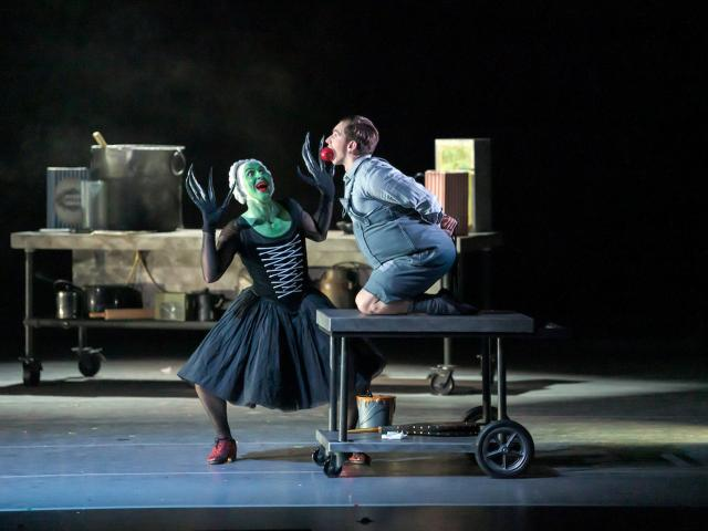 RNZB principal Paul Mathews as the witch gets ready to roast soloist Shaun James Kelly as Hansel...