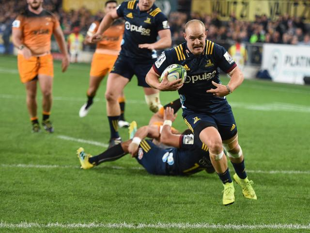 Matt Faddes scores under the posts against the Jaguares in a Super Rugby game at Forsyth Barr...