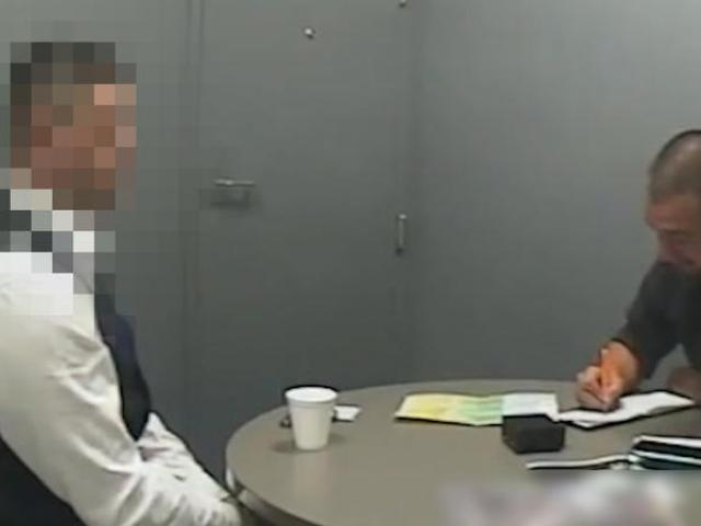 An image taken from video shown to the jury of the defendant being interviewed at Auckland...