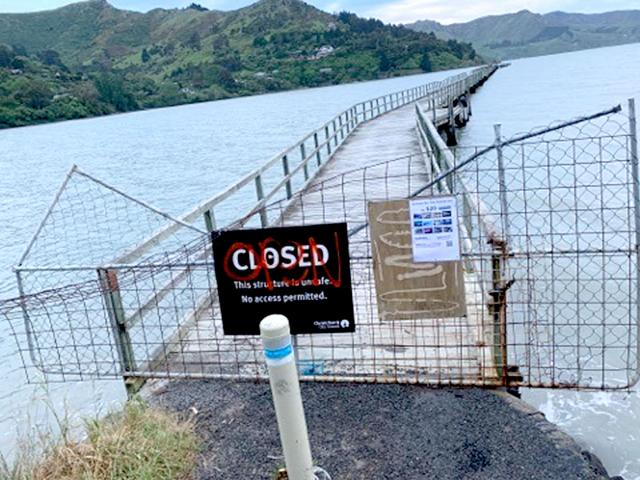 The fence at Governors Bay jetty was targetted in one of two acts of vandalism over the weekend.
