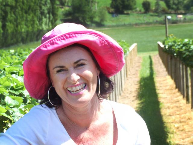 Leanne Matsinger, of Matsingers Berry Farm, in her recently developed hydroponic strawberry patch...
