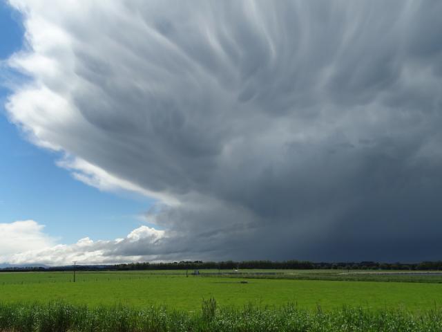 Dark clouds roll across inland North Otago yesterday. Photos: Daniel Birchfield