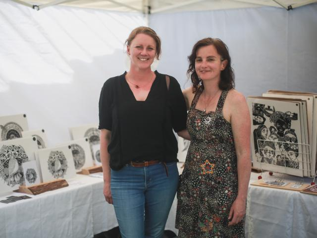 North Otago artists Tracey Vickers-Anderson (left) and Natalie Chapman were among the 80 boutique...
