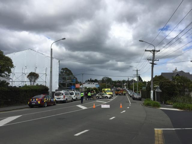 Emergency services were called to a crash on Highgate at 11.19am. Photo: Gregor Richardson