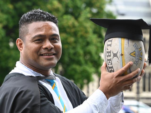 Jekope Maiono (40), who has fostered the development of sevens in Dunedin, prepares to graduate...