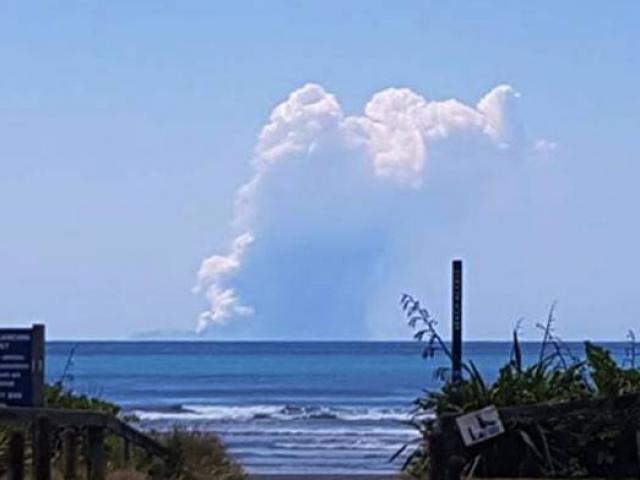 Eruption on White Island today. Photo: Supplied