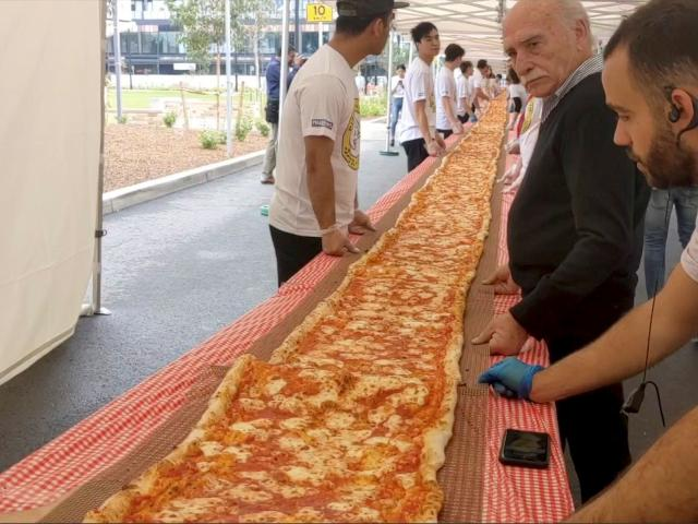 This 100m-long margherita pizza was prepared by Pellegrini's Italian restaurant in their attempt...
