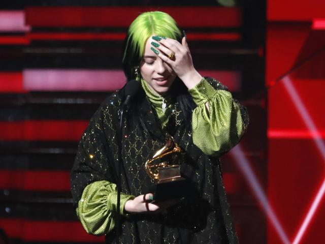 Billie Eilish accepts the award for Best New Artist. Photo: Reuters